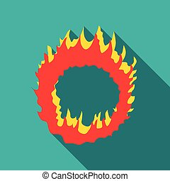 Ring of fire icon, flat style - icon. Flat illustration of...