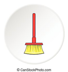 Red floor brush icon, cartoon style