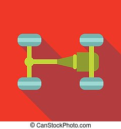 Car chassis icon, flat style - icon. Flat illustration of...