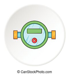 Water meter icon, cartoon style - Water meter icon. Cartoon...