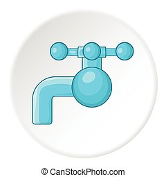 Water tap with knob icon, cartoon style - Water tap with...
