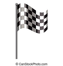 Chequered flag icon, isometric 3d style - Chequered flag...