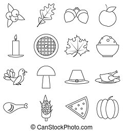Thanksgiving Day Autumn icons set, outline style -...