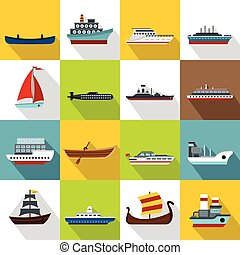 Sea transport icons set, flat style - Sea transport icons...