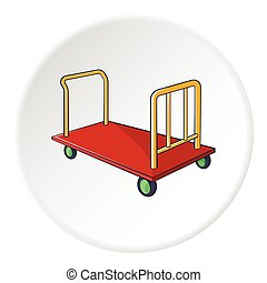 Baggage cart icon, cartoon style