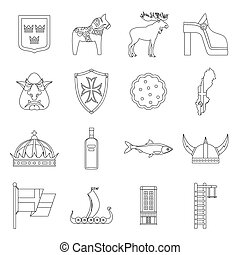 Sweden travel icons set, outline style