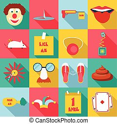 April fools day icons set, flat style - April fools day...