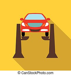 Car lifting icon, flat style - icon. Flat illustration of...