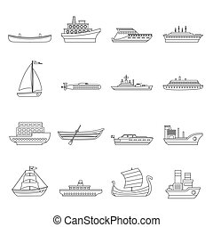 Sea transport icons set, outline style - Sea transport icons...