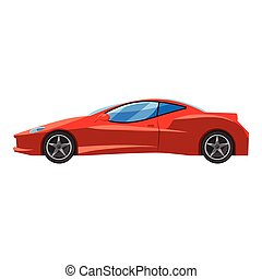 Red sport car side view icon, isometric 3d style - Red sport...