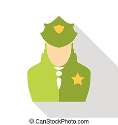Police officer icon, flat style - icon. Flat illustration of...