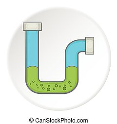 Clog in the pipe icon, cartoon style - Clog in the pipe...