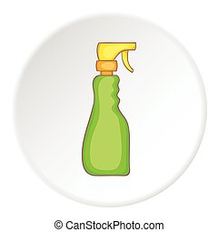 Green household spray bottle icon, cartoon style - Green...