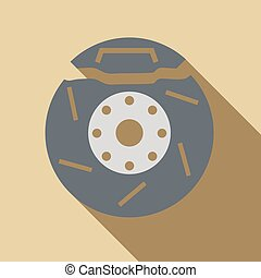 Brake disc icon, flat style - icon. Flat illustration of...