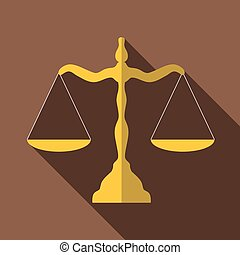 Scales of justice icon, flat style - icon. Flat illustration...