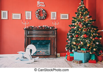 Beautiful new year room with decorated Christmas tree, gifts...