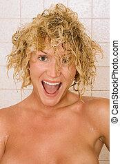cheveux, douche, après, mouillé,  portrait