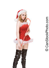 pin up Mrs Santa Claus with huge candy cane