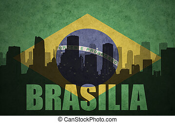 abstract silhouette of the city with text Brasilia at the...