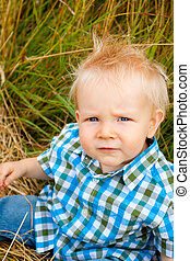 1 Year Old Boy - A young one year old kid in a rural field...