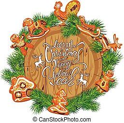 Holiday Card with round wooden frame,  fir tree branches, xmas gingerbread,  isolated on white background. Hand written calligraphic text Merry Christmas and Happy New Year.