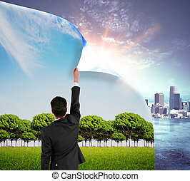 Urbanization concept - Abstract image of businessman...