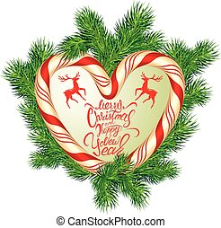 Holiday greeting Card with xmas candy frame in heart shape and fir-tree branches. Hand written calligraphic text Merry Christmas and Happy New Year. Isolated on white background.