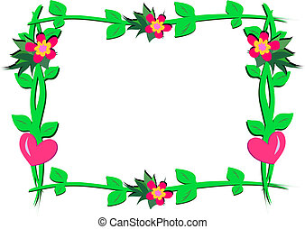 Frame of Hearts, Flowers, and Plant