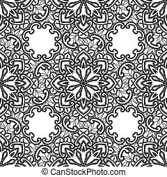 Black Lace seamless pattern with flowers on white background - fabric design.