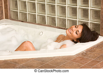 Attractive young gorges woman taking bath - Sensual sexy...