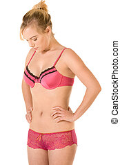Body Conscious - Attractive young woman in pink lingerie...