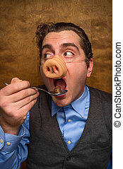 Pig Man Banker - Silly pig man eating lose change for...