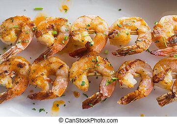 Grilled Shrimp Kebabs - Fresh hot grilled jumbo shrimp...
