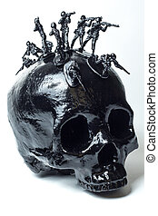 Black Skull Mohawk - Black skull with toy soldiers forming...