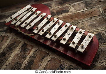 parede, tijolo, xilofone