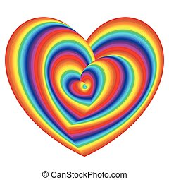 Twisted spectrum of heart shapes over white - Twisted...