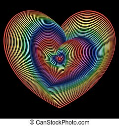 Twisted spectrum of heart shapes over black - Twisted...
