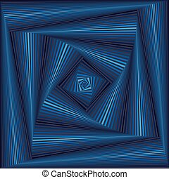 Whirling sequence with blue square forms - Concentric square...