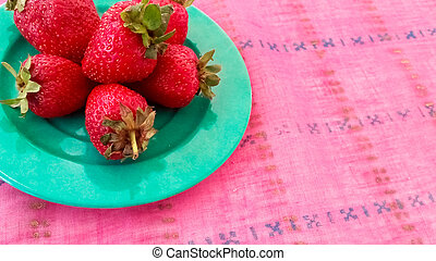 Fresh Strawberries Served on a Table