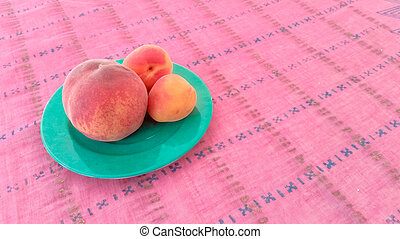 Apricots With Peach in a Plate