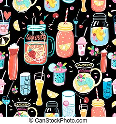 Bright pattern delicious cocktails - Seamless bright pattern...