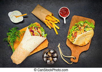 French Fries with Doner Kebab and Shawarma