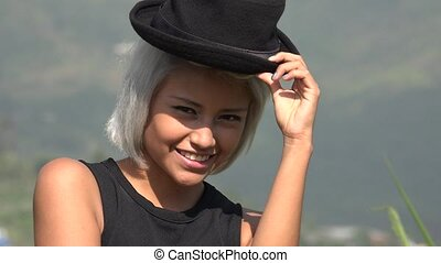 Flirty Sexy And Attractive Young Woman With Hat