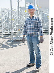 Portrait of worker on buidling site