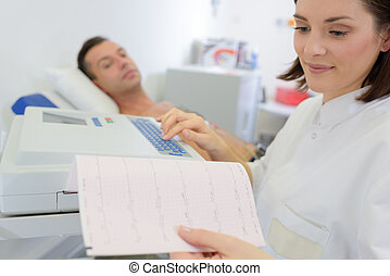 patient on going electrocardiography
