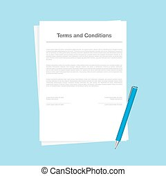 Contract or terms and conditions document isolated on blue background. The corporate form with a pen lying next to signing. Vector illustration in flat style.