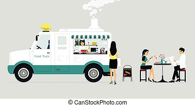 Food Truck - Food truck selling food to customers who have a...