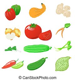 Vegetables photo realistic, vector set - Set of photo...