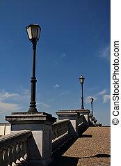 Streetlamps and Blue Skies, Antwerp - Streetlamps in...