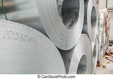 Steel coil closeup